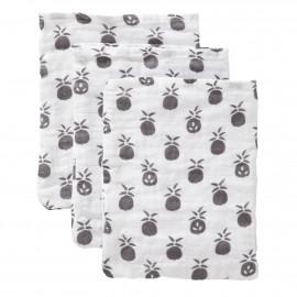 set of 3 muslin wash cloths - pineapple